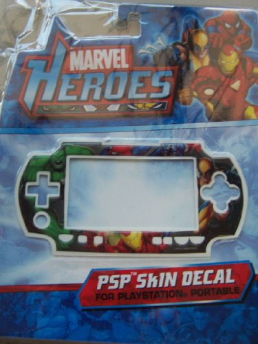 PSP Skin Decal Marvel Heroes Hulk Iron Man Spider Man
