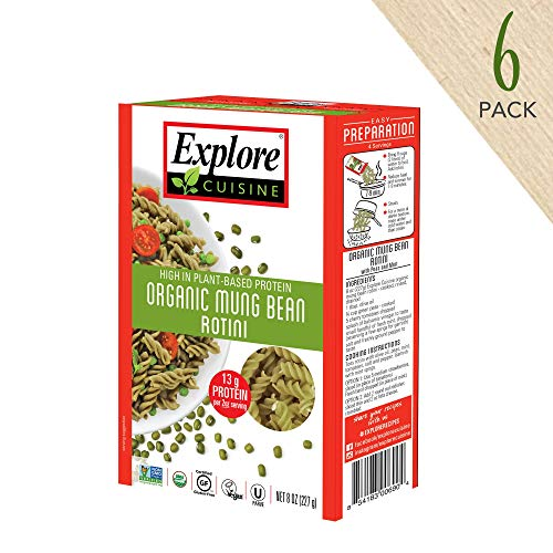 Explore Cuisine Organic Mung Bean Rotini (6 Pack) - 8 oz - High Protein, Gluten Free Pasta, Easy to Make - USDA Certified Organic, Vegan, Kosher, Non GMO - 24 Total Servings