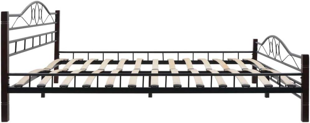 vidaXL Cadre de Lit avec 2 Tables de Chevet Noir M/étal 180x200 cm Chambre