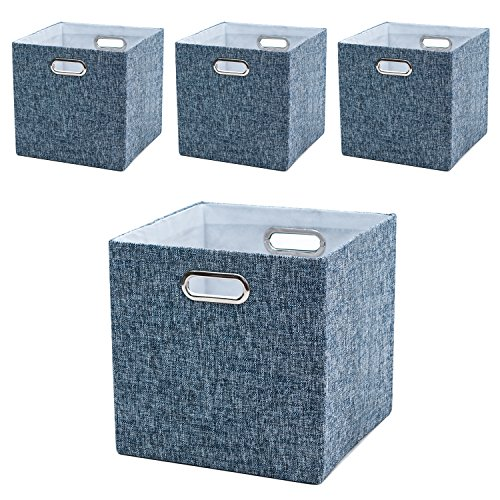 BAIST Fabric Storage Bins,Collapsible Square Canvas Fabric Storage Cubes Bins Baskets for Playroom Bedroom Shelf,Set of 4,Blue Tweed Linen