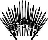 "GAME OF THRONES TV SERIES THRONE OF SWORDS LOGO STICKERS SYMBOL 5.5"" DECORATIVE DIE CUT DECAL FOR CARS TABLETS LAPTOPS SKATEBOARD - BLACK"
