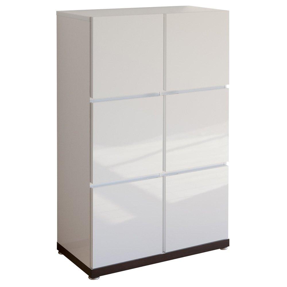 【リビング収納棚 キャビネット サイドボード】 ペルル 80-3段 鏡面ホワイト B006W2UC1M 鏡面ホワイト 29281