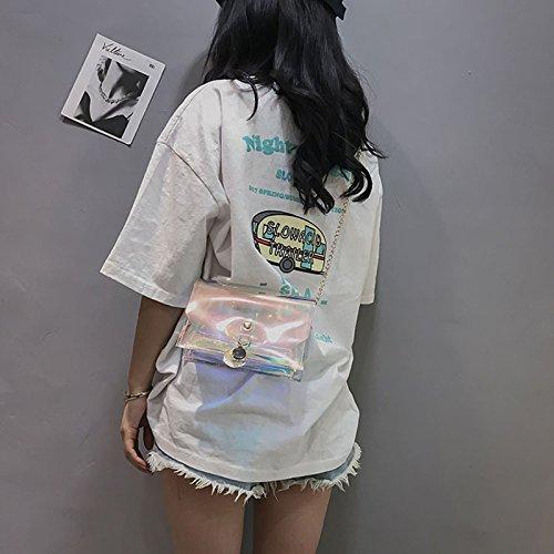 de en femme vives d'été Shining plage Sac chaînes Transparent Sac à bandoulière avec Sac pour d'embrayage main Gelée à Couleurs PVC 4qFwHBq