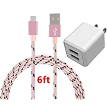 USB Type C Cable, AOKER Dual USB Portable Travel Wall Charger + 6FT USB C to USB A Cable for Samsung Galaxy Note 8,S8,S8 Plus, LG G6 G5 V30 V20, Google Pixel, Nintendo Switch, and More (Pink Black)