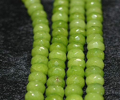 "FidgetFidget 4x6mm Faceted Peridot Abacus Loose Beads Gemstone 15"" AAA"