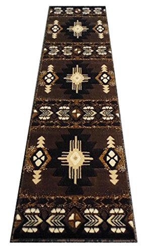 2'x7'7' Runner Area Rug (South West Runner Area Rug Design C318 Chocolate (2 Feet X 7 Feet))