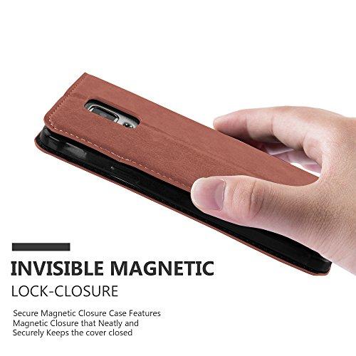 Cadorabo - Funda Book Style Cuero Sintético en Diseño Libro para Samsung Galaxy NOTE 4 �?Etui Case Cover Carcasa Caja Protección con Imán Invisible, Tarjetero y Función de Soporte en NEGRO-ANTRACITA MARRÓN-CAPUCHINO