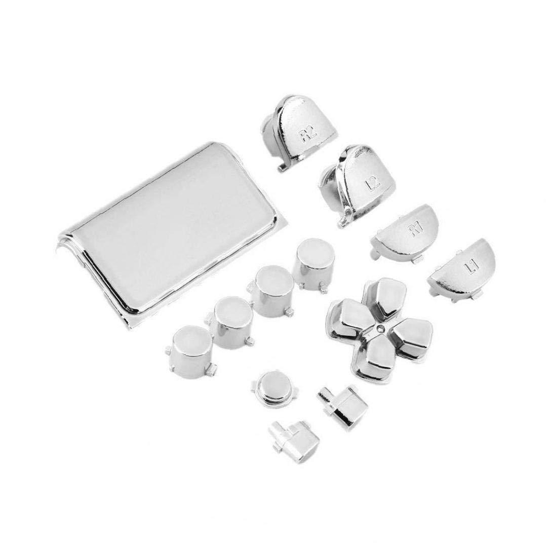 // PRO TDlmfRDi Controllore Grip Pulsante Anti-Slip Tasto del Metallo per Sony Playstation 4 PS4 Slim Argento Controller 1 Set