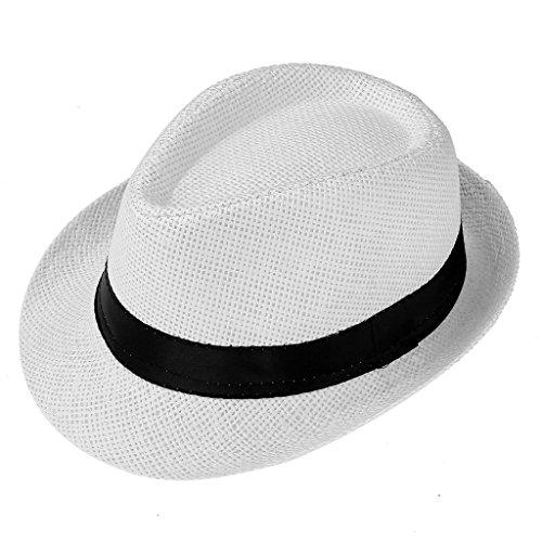 Ayliss Children Summer Straw Fedora Hat Short Brim British Jazz (New Braid Fedora)