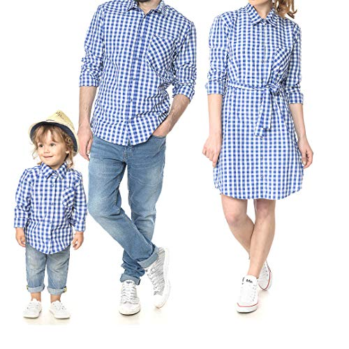 Mother Father Kids Family Matching Shirt Dress Casual Plaid Family Clothes with Chest Pockets (Mom Medium, Blue) -