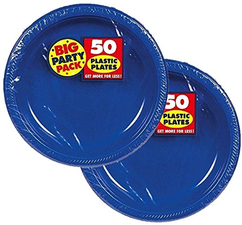 Amscan Big Party Pack Plastic Dessert Plates, 7-Inch, Bright Royal Blue (100 Count)
