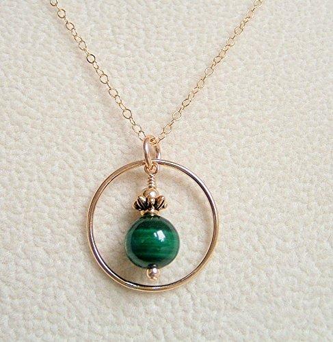 (Green Round Simulated Malachite Gold Filled 24