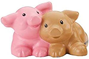 Replacement Figure for Fisher-Price Little People Farm Animal Friends Playset DFN55 - Includes 1 Connected Figure of 2 Pink and Brown Piglets