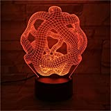 MM-maker Abstract 3D night light, 7 colors 3D night light,Acrylic panel Remote or touch strong 3D vision lights,LED creative ambient light, Home decoration lamp,USB powered (Color : Remote)