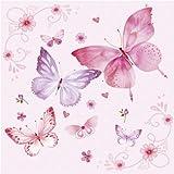 Decorline -20 Tovaglioli Carta ' Gentle butterflies rosa'- 33x33 cm-3 strati