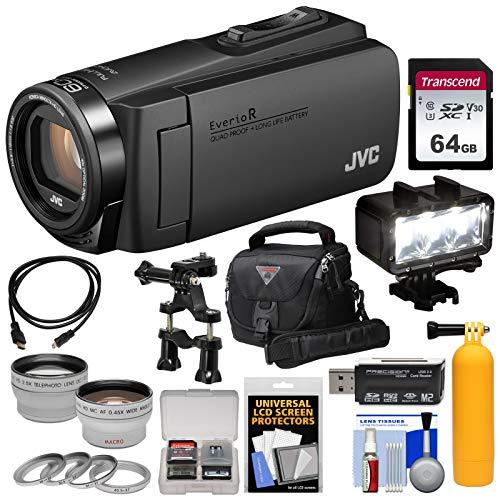 JVC Everio GZ-R460 Quad Proof 1080p HD Video Camera Camcorder (Black) with 64GB Card + LED Light + Case + 2 Lens Kit