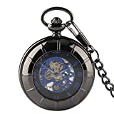 Retro Pocket Watch, Cool Transparent Glass Case Blue Roma Number Mechanical Pocket Watch with Chain, Gift for Men
