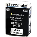PhotoMate LP-E6 LPE6 Ultra High Capacity Rechargeable Battery Pack (2800mAh) for Canon EOS 70D, 60D, 60Da, 7D, 7D Mark II, 6D, 5D Mark II III 2 3 DSLR Digital Camera