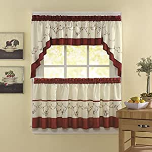 5 piece cinnabar ivory floral embroidered for Log cabin window treatments