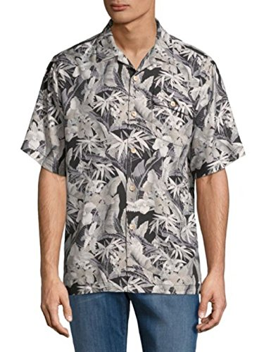 Tommy Bahama Island Zone Oasis Blooms Silk Blend Camp Shirt (Color Coal, Size XXL)