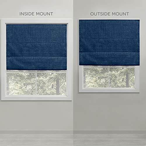 Exclusive Home Curtains Acadia Total Blackout Roman Shade, 34x64, Chambray Blue