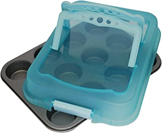 product image for G & S Metal Products Company Ovenstuff Nonstick Muffin Bakeware Pan with Lid Cover With Handles, 12-Cup, Angel Blue