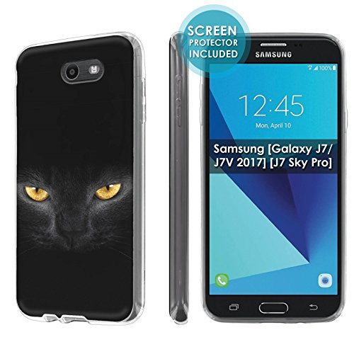 [Nakedshield] Slim Flexi Case For Samsung [Galaxy Halo] [2017] Galaxy J7 [Galaxy Prime/Perx/Sky Pro] [Clear] Total Armor Rubber Gel Phone Case [Screen Protector]- [Cat Eye] Print Design ()