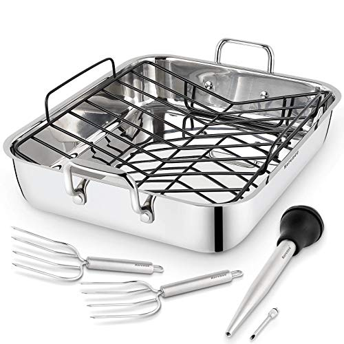 Rorence Roasting Pan with Rack: 16-Inch Stainless Steel Rectangular Turkey Roaster pan with Nonstick V-Shaped Rack for…