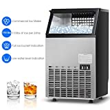 Costzon Commercial Ice Maker, Built-In Stainless Steel Ice Maker, 110LBS/24H Production, Free-Standing Portable Design for Party Gathering, Restaurant, Bar, Coffee Shop w/Ice Shovel, Hose, Filter