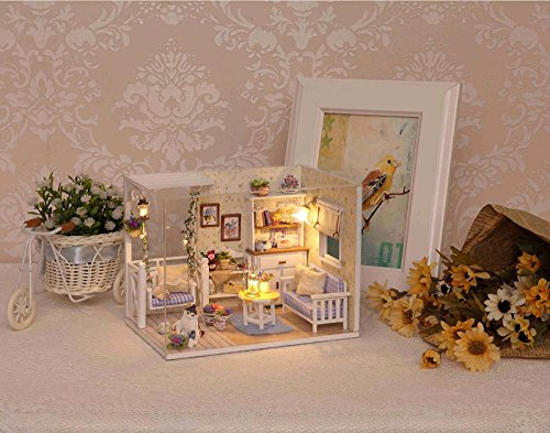 Ogrmar Wooden Dollhouse Miniatures DIY House Kit With Cover and Led Light-Cat Diary by Ogrmar (Image #6)