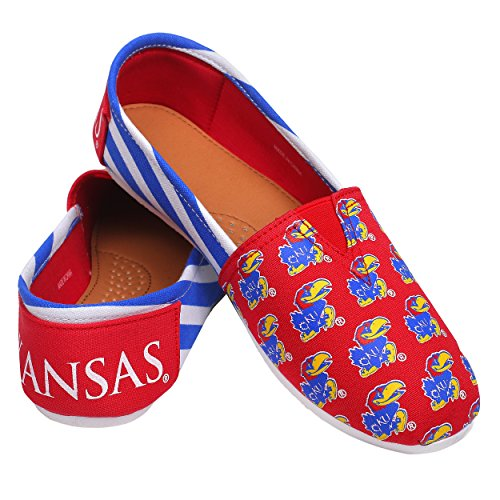 Scarpe Da Sera Slip-on Da Donna College College Da Donna Per Sempre - Scegli Le Strisce Della Squadra - Jayhawk Kansas