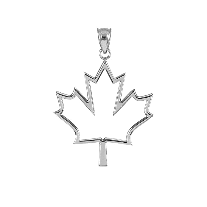 jewelry ca polish high dp white gold maple open pendant amazon leaf design