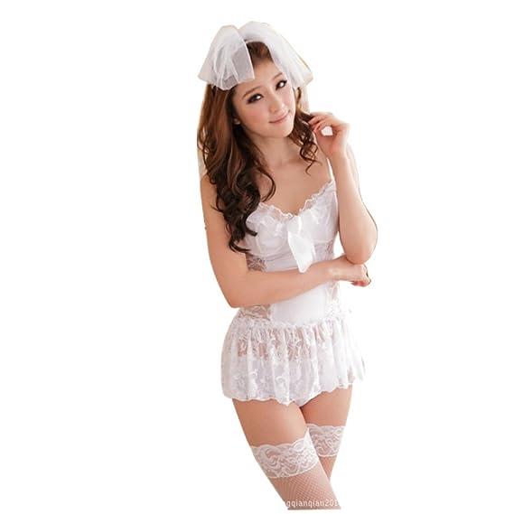 Mujer Encaje Lencería Con Calcetines de muslo Ropa interior Sostén 3 piezas