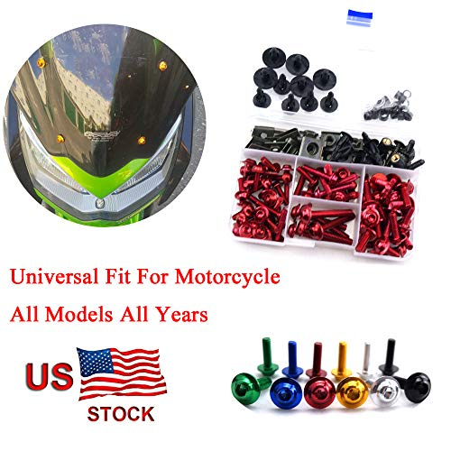 Motorcycle Kits Complete Bolt Fairings Bolt Kits screw Clips For Yamaha Honda Suzuki Bmw Kawasaki Ktm Ducati MT07 MT09 Z1000 CBR1000RR CBR600RR (Red, 1)