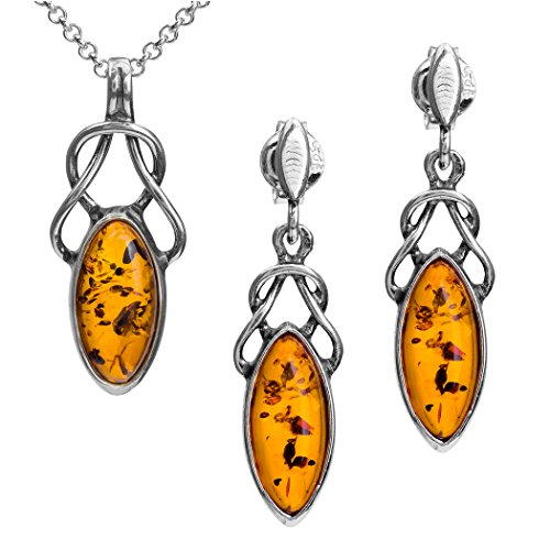 Ian and Valeri Co. Light Amber Sterling Silver Celtic Marquise Shape Earrings Pendant Necklace Set Chain 18