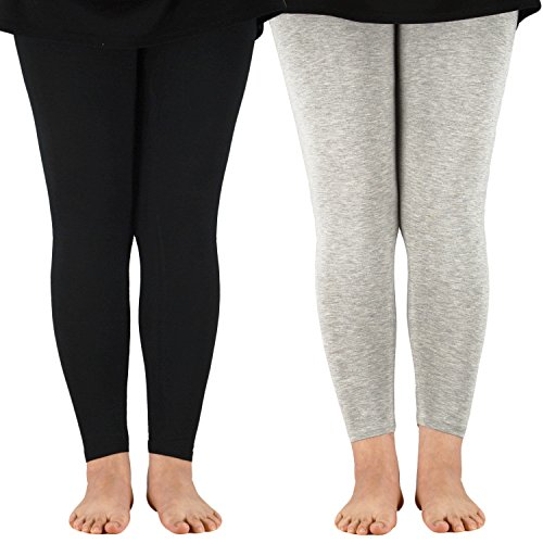 Zando Women's Modal Exercise Elastic Leggings Plus Size Full Length Capri Pants 2 Pairs Black Grey US M(Tag 2XL) (Genie Leggings M)
