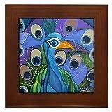 The Peacock :: Modern Art Deco Cubist :: Framed Fine Art Ceramic Tile By Kristen Stein