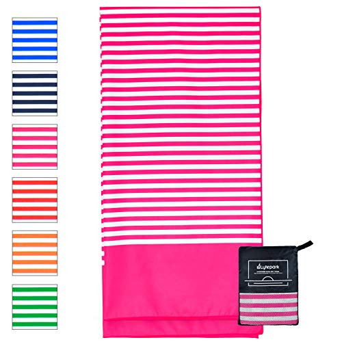 (Microfiber Beach Towel for Travel - Oversized XL 70 x 35 Inch - Quick Dry, Sand Free, Extra Large, Lightweight with Zipper Bag - Compact, Perfect for Travel Towel and Beach Blanket (Pink Hibiscus))