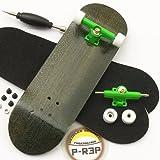 Peoples Republic Black Complete Wooden Fingerboard w Nuts Trucks - Basic Bearing Wheels