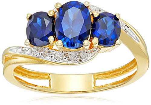 Sterling-Silver-with-Yellow-Gold-Plating-Created-Ceylon-Sapphire-and-Diamond-Oval-Ring-Size-7