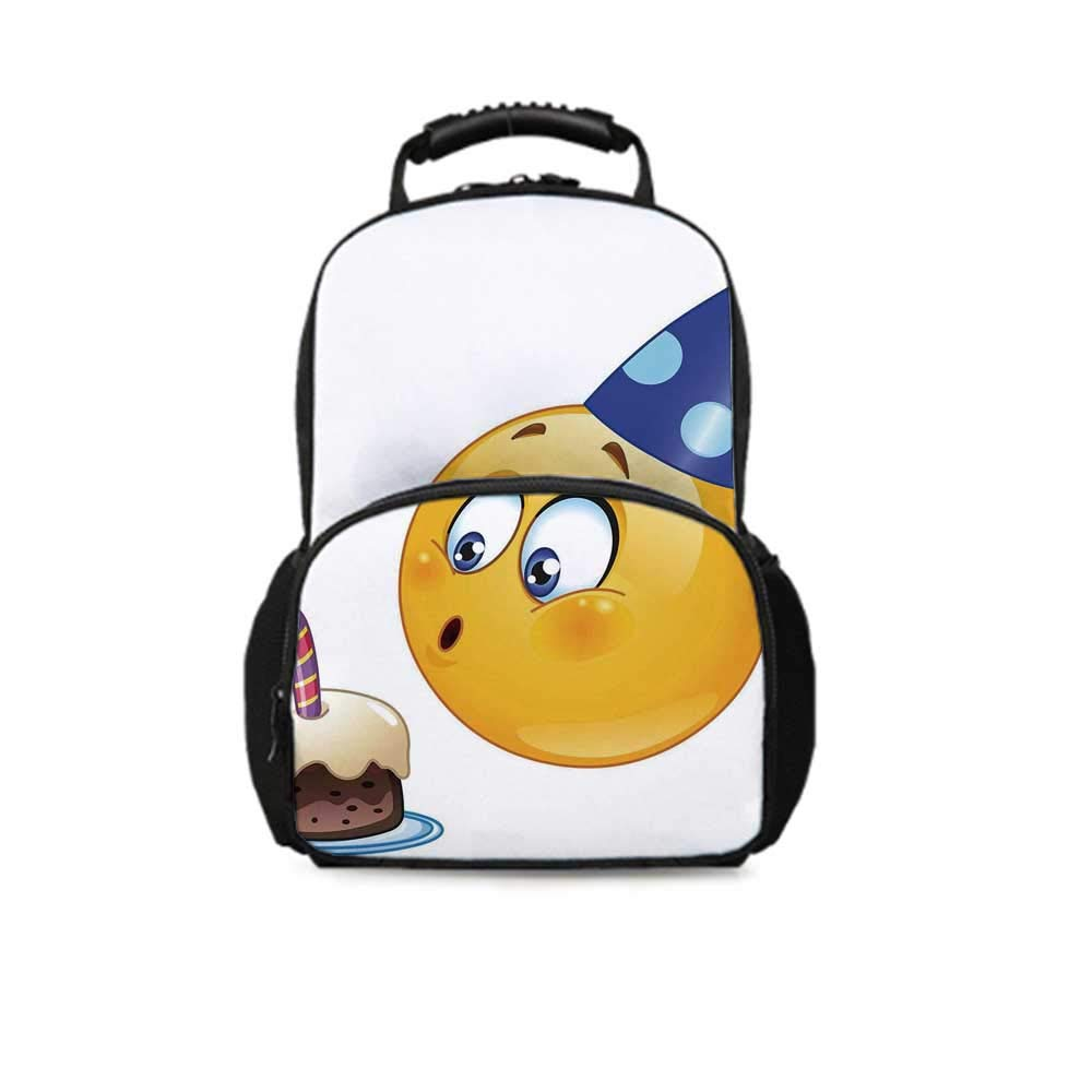 Birthday Decorations for Kids Leisure School Bag,Happy Emoji Face with Cone Hat Blowing Party Cake for School Travel,One_Size