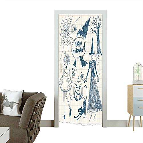 3D Photo Door Murals Halloween Doodles,Hand Drawn Easy to Clean and Apply W38.5 x H77 INCH