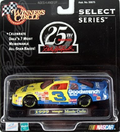 Earnhardt Race Dale Sr (Dale Earnhardt Sr #3 Blue Yellow 1999 Wrangler Monte Carlo 1/43 Scale Diecast Raced At Charlotte All Star Race 1999 Winners Circle 25th Anniversary Release)