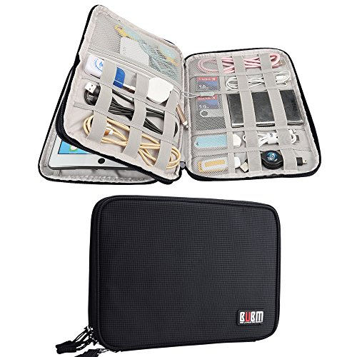 Electronics Accessories Organizer BUBM Travel Cable Bag Cord Gadgets Organizer for IPad-Black