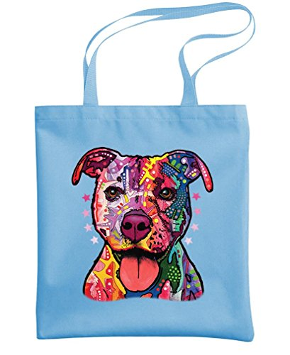 - PITBULL - friendly dog love - Dean Russo - Heavy Duty Tote Bag, Light Blue by Doodle Snicker (Image #1)
