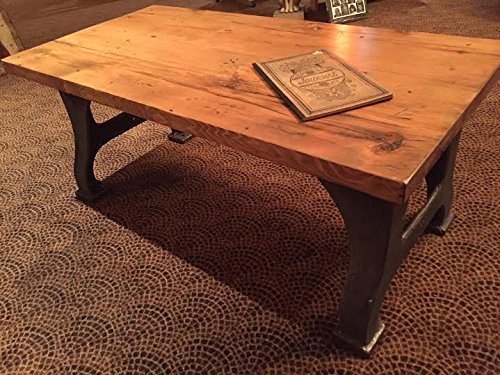 Amazoncom Amish Butcher Block Industrial Coffee Table W Cast