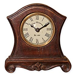 Baroque Like Shape with Pedestal Feet 6 x 6 Inch Wooden Table Top Analogue Clock