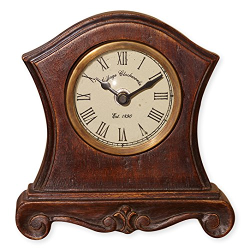 Baroque Like Shape with Pedestal Feet 6 x 6 Inch Wooden Table Top Analogue Clock -