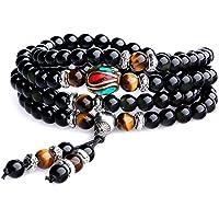 coai 108 Beads Multilayer Semi Precious Obsidian Malas Prayer Beads Bracelet