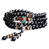 AmorWing Unique Gift Multilayer Tiger Eye and Obsidian Malas Prayer Beads Bracelet 6mm